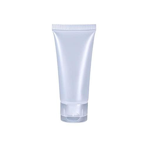 30 tubos vacíos, 20 ml de plástico suave translúcido, rellenables, botellas de loción cosmética vacías con tapa abatible, frasco para champú de limpieza facial pasta de dientes