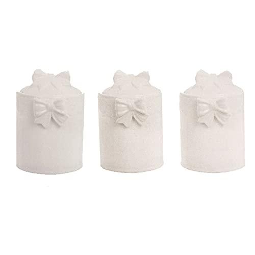 BLANC MARICLO' Set 3 barattoli in porcellana bianca con fiocco 12.5x11xH15.5 cm