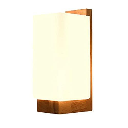 KMMK Novedad Lámparas de decoración de pared, Lámpara de pared de madera moderna Luz de noche Pantalla de cristal redonda Lámpara de pared Lámpara de cabecera Iluminación de pasillo Pasillo Luces de