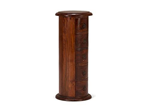 Woodkings® Rundschrank Texas braun, Massivholz Akazie, Kommode, Design 5 Schubladen, Holzmöbel, Apothekerschrank klein