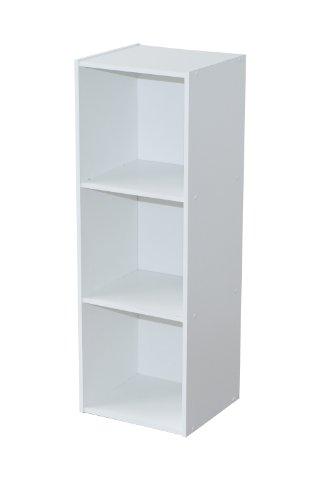 Compo ER Meuble de Rangement Colonne 3 Casiers Bibliothèque Etagères Cubes Blanc 32 x 29,5 x 92,5 cm