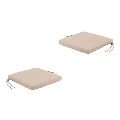 Edenjardi Pack 2 Cojines para sillas de jardín Olefin Color Marrón Tostado, Tamaño 44x44x5 cm, No Pierde Color, Desenfundable