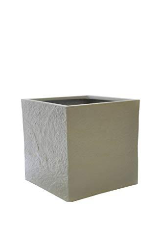 Pflanzkübel BLOXX aus Fiberglas wie Orig. Naturstein in hellgrau - Größe (LxBxH): 40x40x40, Blumenkübel, Pflanzgefäß
