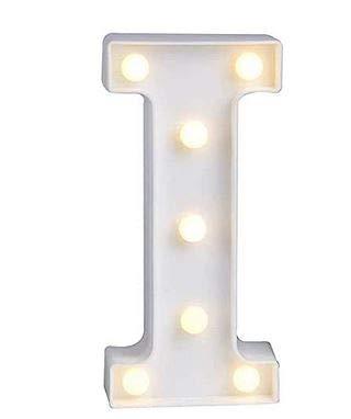 Yuna Letras luminosas LED decorativas de LED, letras del alfabeto blanco (I)