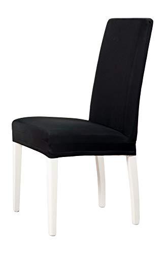 2-er Set Jersey Stuhlhusse   Elastische Stretch-Hussen   Stuhlhussen in Markenqualität   Elegante Stuhlbezüge   Schwarz