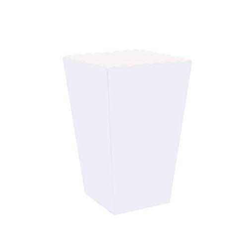 NUOLUX 100pcs Cajas de Palomitas de maíz Blancas Cartones Bolsas de Papel Contenedores de Papel de Comida para el Cine Cajas de postres de Mesa de Cine Favores de Boda