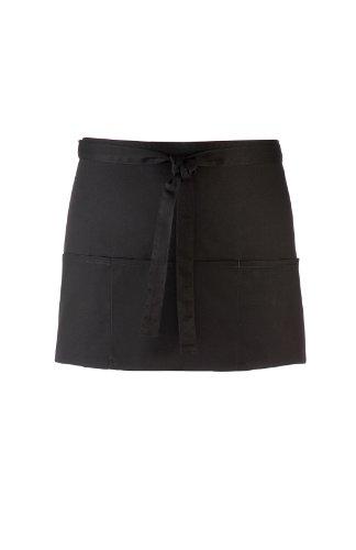 Kurze Kellnerschürze Schwarz 60 x 33 cm (B/H) mit 3 Taschen