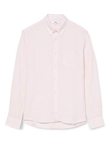 Marchio Amazon - find. Camicia di Lino a Manica Lunga Uomo, Rosa (rosa)., XS, Label: XS