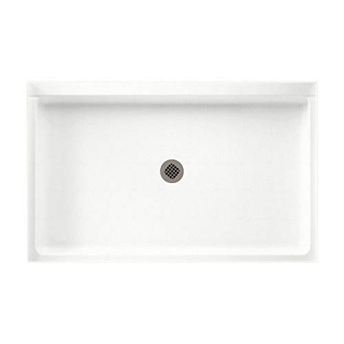 Swanstone SS-3454-011 Solid Surface Center Drain Shower Base, 54-in L X 34-in H X 5.5-in H, Tahiti White