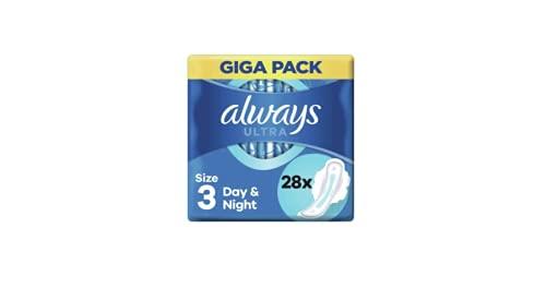 Always Compresas Ultra Day & Night (tamaño 3) con alas 28