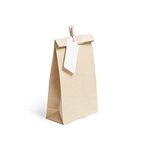 Plantvibes 24 Bolsas de papel kraft marrón hermosas, Bolsa para regalos con tarjetas y pinzas de madera ideal para bodas, cumpleaños o fiestas de Navidad, Papel para envolver los favores