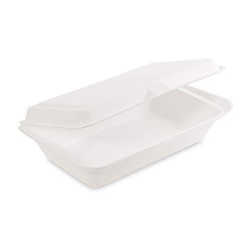 50x Bio Take Away Box weiß 250 x 162 x 63 mm aus Zuckerrohr | nachhaltige To Go Lunchbox Essensbox mit Deckel | Lebensmittel Behälter Einweg | kompostierbar auslaufsicher | silverkitchen ®