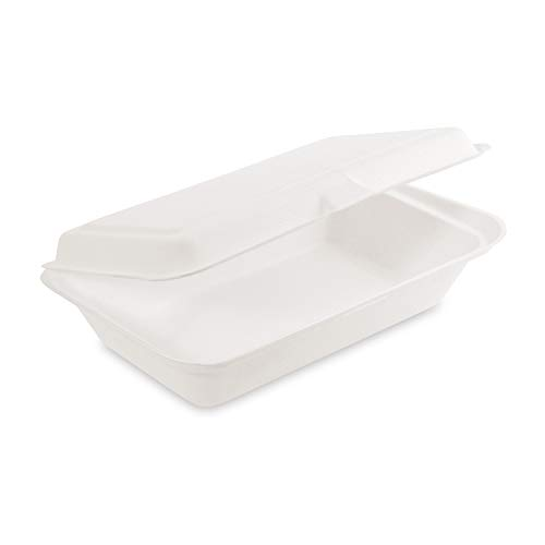 LogiPack GeRo 200x Bio Take Away Box weiß 250 x 162 x 63 mm aus Zuckerrohr | nachhaltige to Go Lunchbox Essensbox mit Deckel | Lebensmittel Behälter Einweg | kompostierbar auslaufsicher