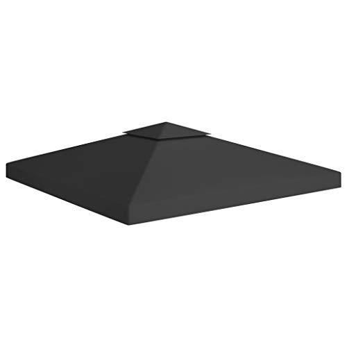 vidaXL Gazebo impermeabile a 2 livelli, per feste e giardino, copertura di ricambio per tetto, 310 g/m², 3 x 3 m, colore nero
