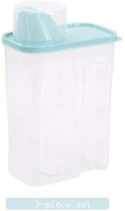 Storage jar Keuken Storage Box Voedsel Container van de Opslag - 3 Piece Sets - Plastic Transparant - met weegschaal kan deksel, Opslag doos keuken (Color : D, Size : 27.5x8.5x15cm)