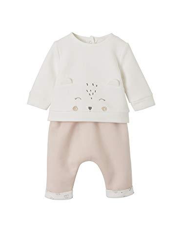 VERTBAUDET Set aus Sweatshirt und Hose für Neugeborene wollweiß+pfirsich 74