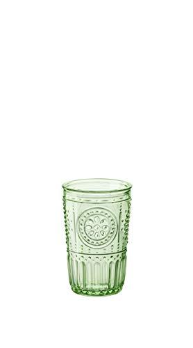 Bormioli Rocco 090802 Romantic - Juego de 4 vasos de cristal, color verde, 34 cl