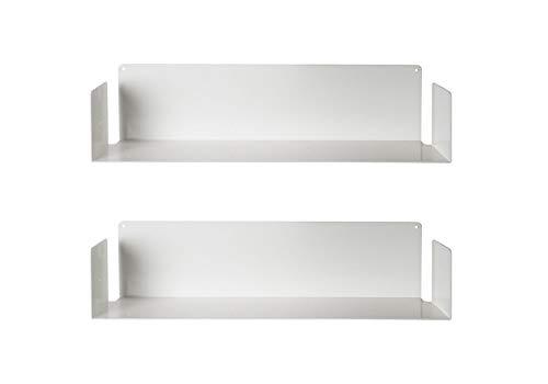 TEEbooks-Estante para Libros de Acero Inoxidable, de Color Blanco, de 60x15x15cm