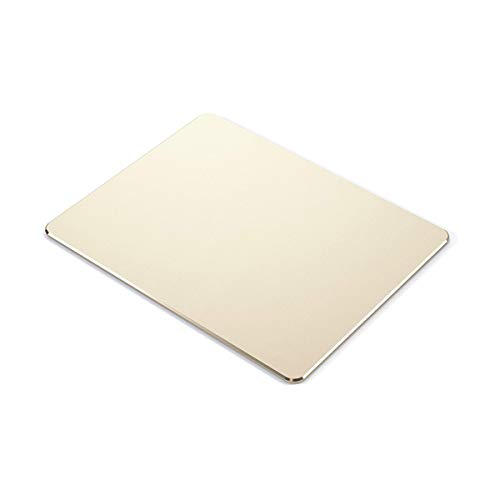 Metal Mouse pad mat,Aluminum Alloy Mouse Pads, Double-Sided,Waterproof,Smooth,Computer Mouse pad, Suitable for Gaming Office Home Personal Use Medium 8.7'x7.0' (Small Gold)