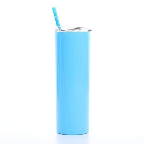 HUUATION 600ml Tumblers de Acero Inoxidable con Tapa de la Taza de la Taza de café de la Taza de café de la Pared de Doble Pared Copa aislada del matraz(Blue,5)