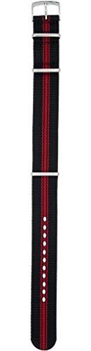 Morellato - Correa de tela de color rojo y negro con asa de 20 mm para reloj Omega Tag Heuer Rollex Tudor
