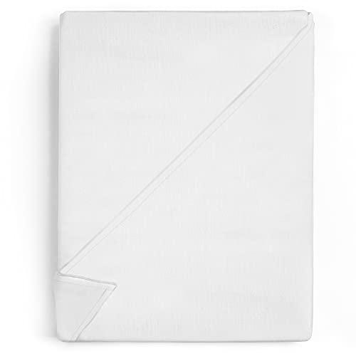 Amazinggirl Lenzuola matrimoniali Bianco di sopra in Cotone 200x220 cm - Lenzuola Letto Matrimoniale di Hotel qualità 125 g/m²