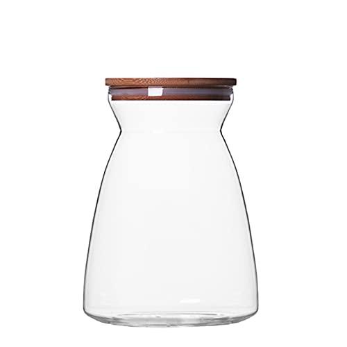 Stoccaggio alimentare sfuso Contenitore della spezia del barattolo della stoccaggio sigillato di vetro con il coperchio di legno dell alimento asciutto del contenitore di stoccaggio del contenitore de