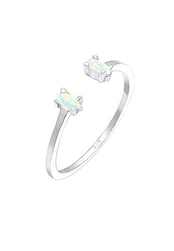 Elli Ring Damen Oval Geo Opal Offen Verstellbar in 925 Sterling Silber