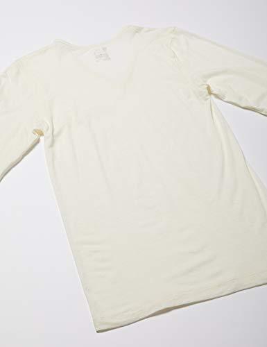 [ビー・ブイ・ディ]Vネック長袖シャツ吸湿発熱heatedit(薄手)GR678RRメンズオフホワイト日本L(日本サイズL相当)