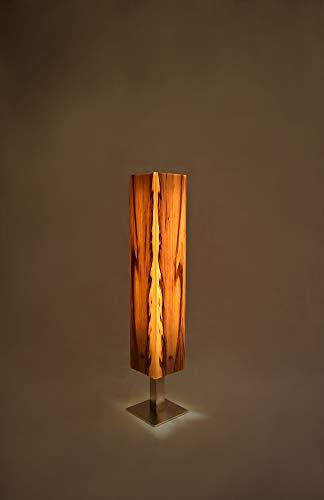 Holzlampe, Tischlampe aus Amberbaum, Echtholzfurnier, LED mit Touch- und Dimmfunktion, Designunikate die Atmosphäre mit Licht schaffen