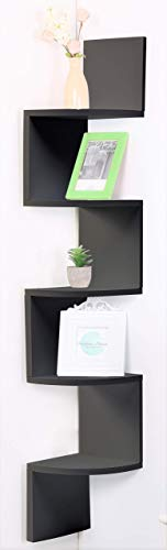 Etnicart - Estantería esquinera de madera MDF wenge de pared 20 x 20 x 120 cm para libros, objetos, estantería de pared,...