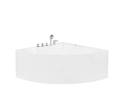 Beliani Moderne, freistehende Whirlpool-Eckbadewanne Acryl weiß Islita