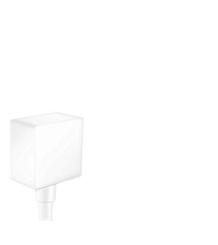 hansgrohe 26455701 - Salida de pared cuadrada con válvulas de retención (3 pulgadas), color blanco mate