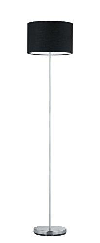lightling modern Stehleuchte in nickel matt, Stoffschirm schwarz, 1 x E27 max. 60W, ø 35 cm, Höhe: 160 cm