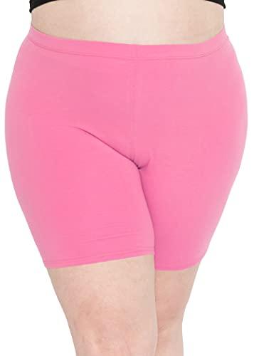 Stretch is Comfort Women's Cotton Plus Size Bike Shorts Light Pink 3XL