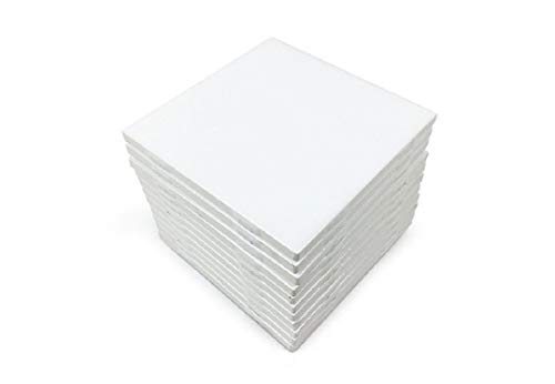 """Glossy White Ceramic Tiles 4 1/4"""" by 4 1/4"""" Set of 10 with 25 Page Full Color How to Decorate Tile Guide"""