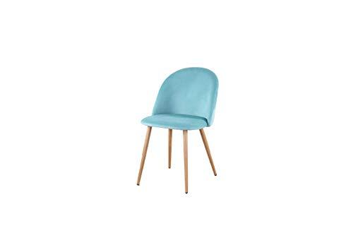 N/A / A Juego de 2 sillones Vintage de Tela de Terciopelo, sillas de Comedor tapizadas con Patas de Metal, Sala de Espera Estilo Madera, Sala de Estar, Muebles de Oficina Modernos, Verde