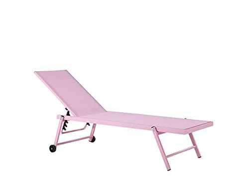 Beliani Moderne Gartenliege mit Rollen Aluminiumgestell Textilbespannung rosa Portofino