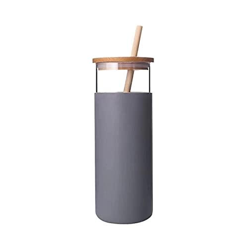 TTXS 500ml vaso de vidrio botella de agua de vidrio paja silicona manga protectora linda taza de agua tapa de bambú libre BPA vidrio resistente al calor gris claro