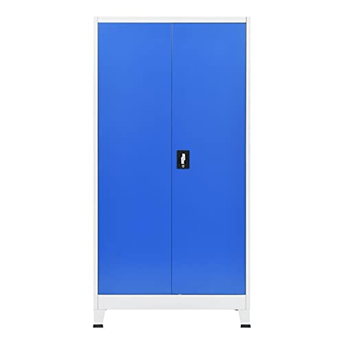 Office File Cabinet Locker Locking Large Storage Office Cabinet Metal Cabinets Home School 35.4'x15.7'x70.9' Gray and Blue by paritariny