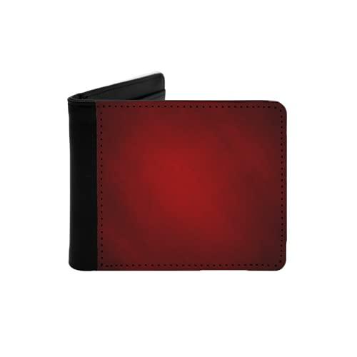 Portefeuille Mince en Cuir pour Hommes,Abstrait Rouge ou Fond de Noël avec projecteur Central Lumineux et Cadre de Bordure de Vignette Noire avec Texture de Fond,Portefeuille Simple