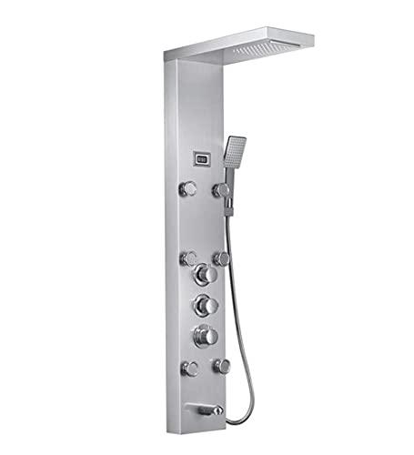 FYYONG Cascada 6pc chorros de masaje lluvia columna de ducha Mezclador termostático grifo de la ducha ducha de mano W bandeja de plata Boquilla de ducha panel de plata