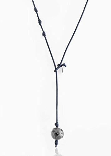 Collana in Argento 925 con Diamante e Cordino - Donna e Uomo - Braccialetto del Viaggiatore Artigianale - Regolabile - Fatto a mano in Italia (Blue)