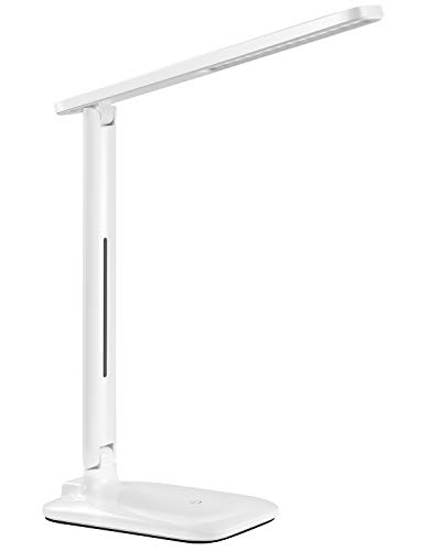 LED Desk Lamp, TopElek Eye-Caring Folding Table Lamps, Dimmable Office Lamp with 9 Brightness, Touch Control, Warm/Cool White for Reading, Studying, Working, Perfect for Kids and Adults, White