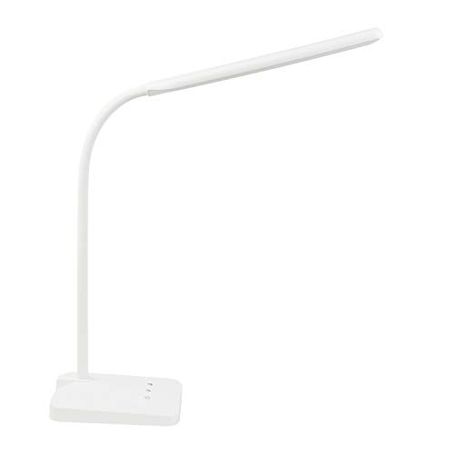 ANNAITE LED Desk Lamp with USB Charging Port Eye-Caring Dimmable Table Lamps 5 Lighting Modes with 5 Brightness Levels Touch Control Memory Function Gooseneck FCC Listed for Bedroom Office (White)