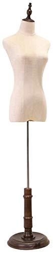 Maniqui La Forma del Vestido Ajustable modistas maniquí Femenino del maniquí Torso del Cuerpo Base de la exhibición con el Cartucho de fogueo en un Estilo (Color : Beige, Size : Medium)