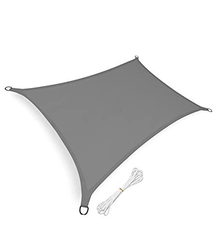 sunnypillow Sonnensegel Rechteckig 3 x 5 m inkl. Befestigungsseilen 100% HDPE | Windschutz | UV Schutz | atmungsaktiv | Sonnenschutz für Garten Terrasse und Balkon | Grau