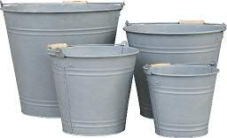 Wunderschönes Zinkgefäß/Zinkbehälter zum Bepflanzen - Farbe: Natur Zink - Innen & Außen - Winterfest - Pflanzgefäß/Gartendeko (Eimer - 4er Set)