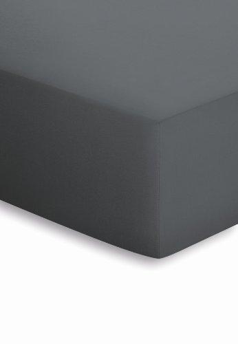 schlafgut Mako-Jersey Basic Spannbetttuch, Baumwolle, Titan, 200 x 150 cm