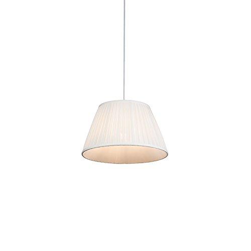 QAZQA - Retro Retro Hängelampe   Pendellampe   Pendelleuchte   Esstisch   Esszimmer Creme 35 cm - Plissee   Wohnzimmer   Schlafzimmer   Küche - Textil Rund - LED geeignet E27